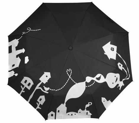Черный сухой зонт