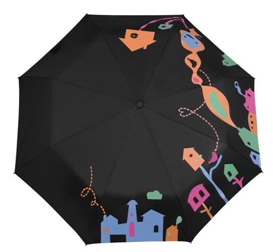 Мокрый черный зонт