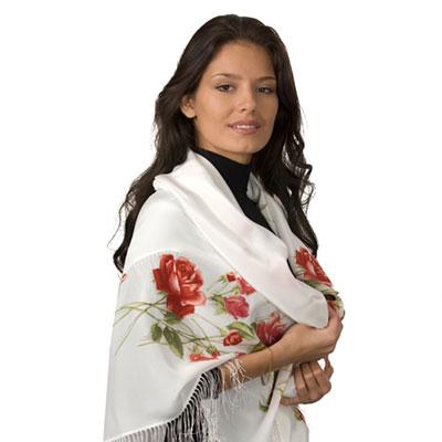 Шаль крепдешиновая «Розы на снегу»