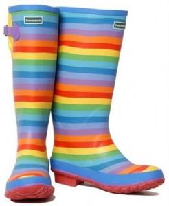 Модные разноцветные резиновые сапоги