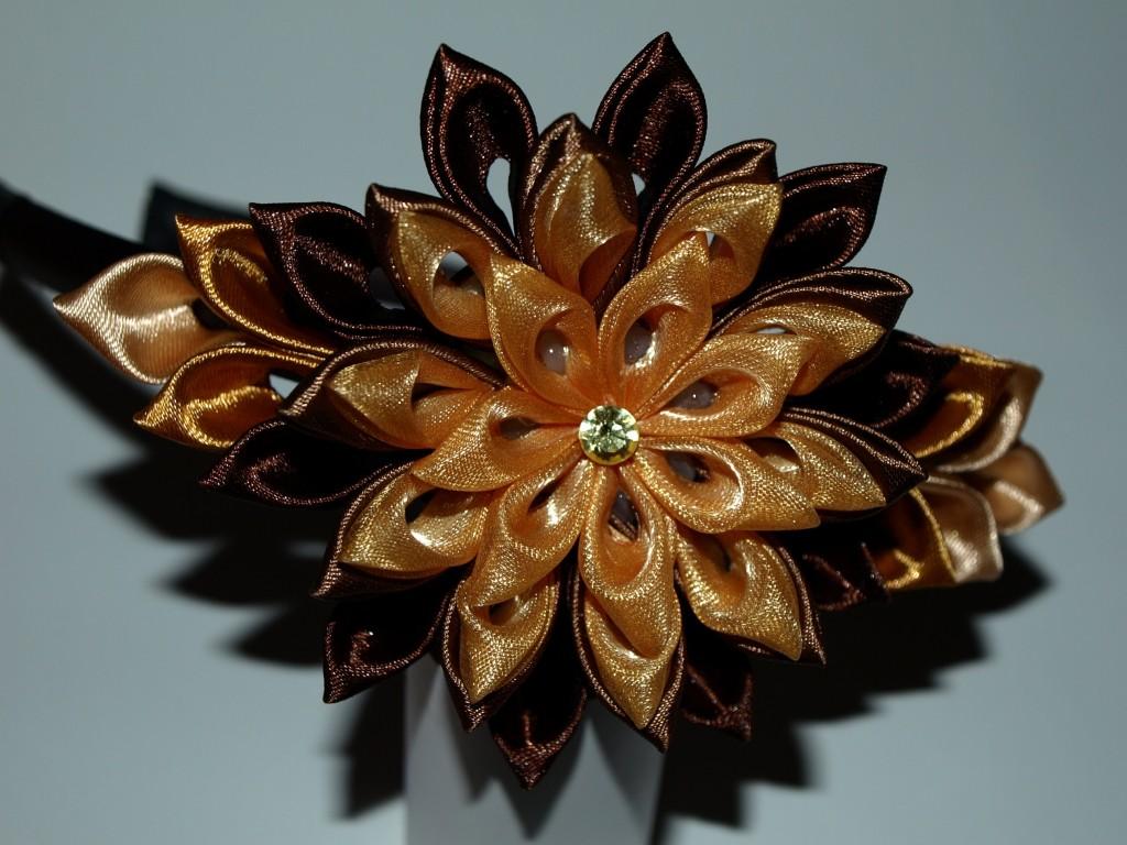 шелковый цветок Канзаши украшение для волос ручная работа