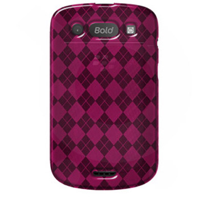 Чехол для BlackBerry Bold 9930,BlackBerry Bold 9900 Luxe Argyle High Gloss TPU Soft Gel Skin Case - Hot Pink For