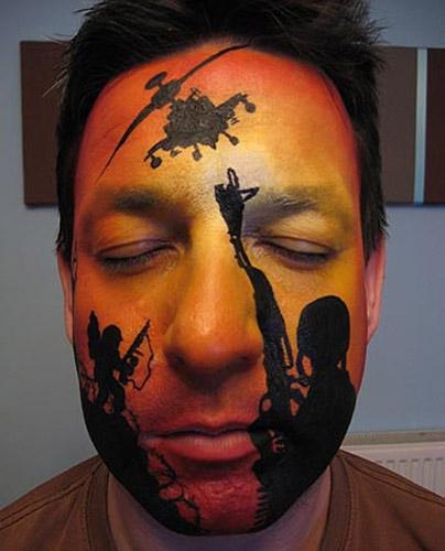 роспись лица водными красками