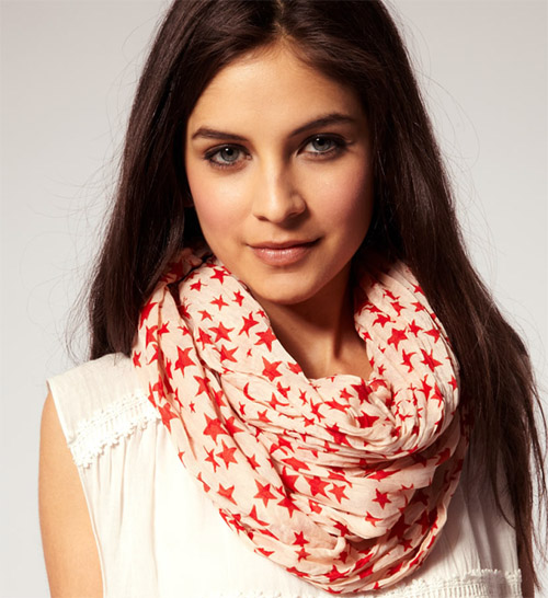шарф снуд тонкий звезды