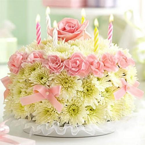 Цветы и тортик