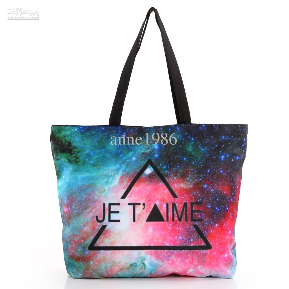FREE SHIPPING Fashion Walker HB012 Galaxy Starry Triangle Printed Women Handbag Computer LAPTOP Ipad Shoulder Bag Recycle